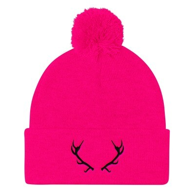 Deer Antlers - Pom Pom Knit Cap (Multi Colors) The Rocky Mountains Canadian American Rockies