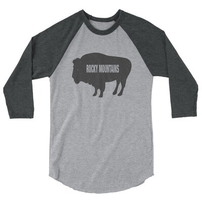 Rocky Mountain Bison - 3/4 sleeve raglan shirt (Multi Colors) Canadian American Rockies