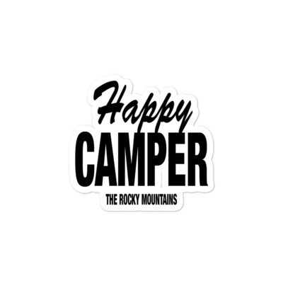 Happy Camper - Vinyl Bubble-free stickers (Multi Colors) The Rockies American Canadian Rocky Mountains