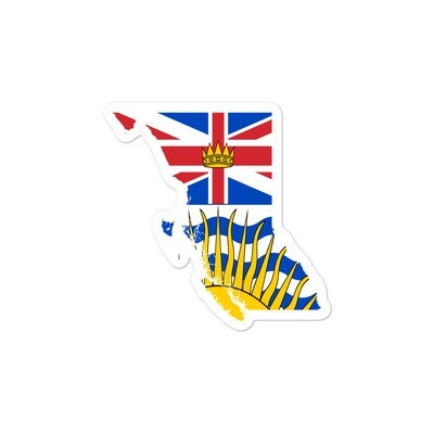British Columbia Flag Map - Vinyl Bubble-free stickers (Multi Sizes) The Rockies Canadian Rocky Mountains