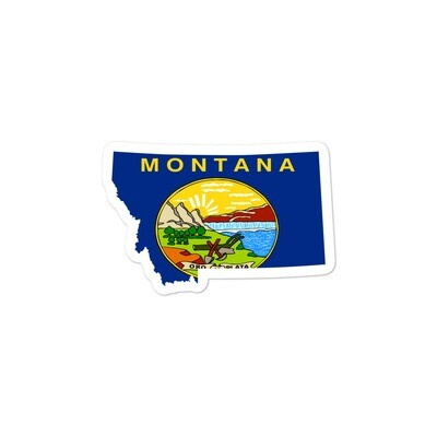 Montana Flag Map - Vinyl Bubble-free stickers (Multi Sizes) The Rockies American Rocky Mountains