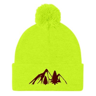 Mountain and Pines - Pom-Pom Beanie (Multi Colors) The Rocky Mountains Canadian American Rockies