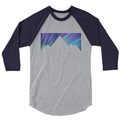 Aurora Mountains - 3/4 sleeve raglan shirt (Multi Colors) The Rockies, Canadian American Rocky Mountains
