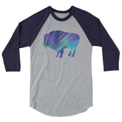 Aurora Bison - 3/4 sleeve raglan shirt (Multi Colors) The Rocky Mountains, Canadian American Rockies