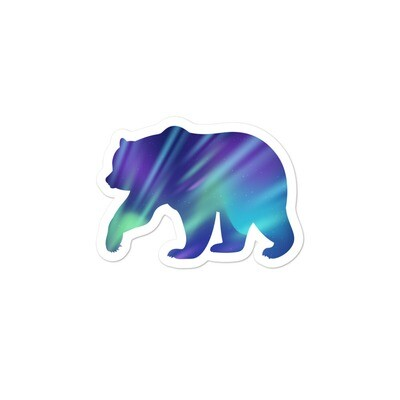 Aurora Bear - Vinyl Bubble-free stickers (Multi Sizes) The Rocky Mountains