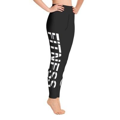 Fitness - Black High Waisted Printed Leggings