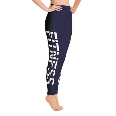 Fitness - Dark Blue High Waisted Printed Leggings