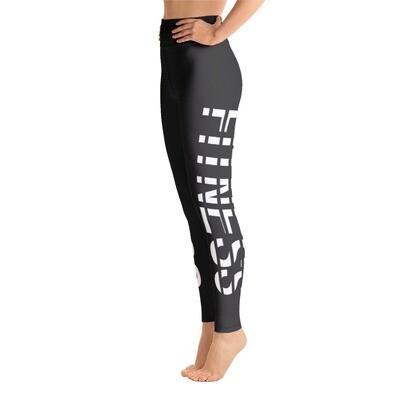 Fitness - Dark Grey High Waisted Printed Leggings