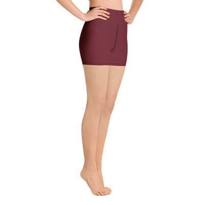 Burgundy / Maroon - High Waisted Shorts