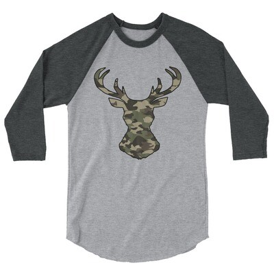 Deer Head Forest (Hunting) Camo - 3/4 sleeve raglan shirt (Multi Colors)