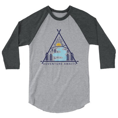 Vintage Adventure Awaits - 3/4 sleeve raglan shirt (Multi Colors)