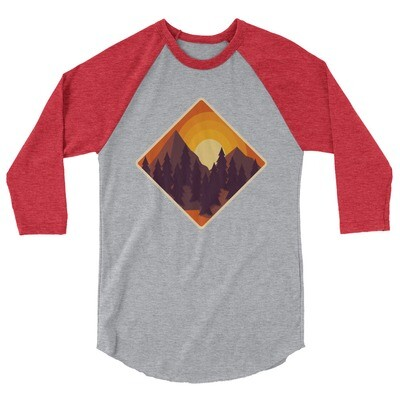 Mountain Sunset - 3/4 sleeve raglan shirt (Multi Colors)