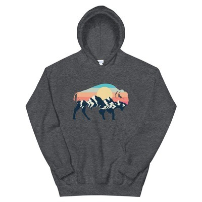 Landscape Sunset Bison - Hoodie (Multi Colors)