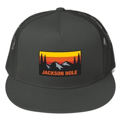 Jackson Hole Wyoming - Mesh Back Snapback - The Rockies American Rocky Mountains