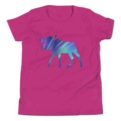 Aurora Moose - Youth T-Shirt (Multi Colors) The Rocky Mountains, Canadian, American Rockies