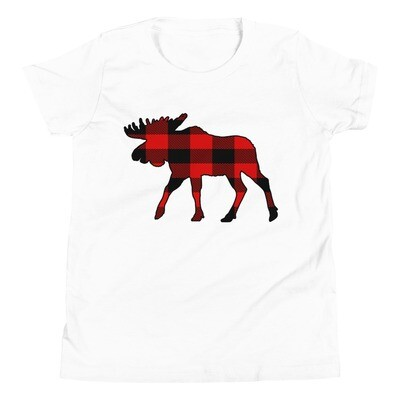 Plaid Moose - Youth T-Shirt (Multi Colors) The Rockies, Canadian American Rocky Mountains