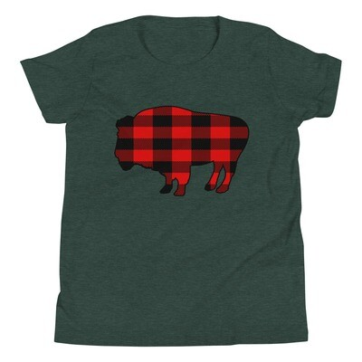 Plaid Bison - Youth T-Shirt (Multi Colors) The Rockies, Canadian American Rocky Mountains