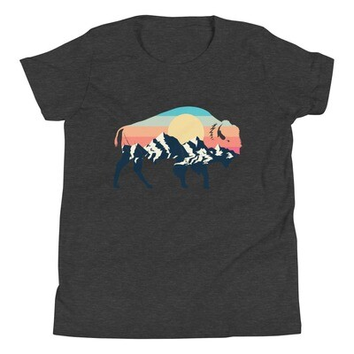 Landscape Sunset Bison - Youth T-Shirt (Multi Colors) The Rocky Mountains