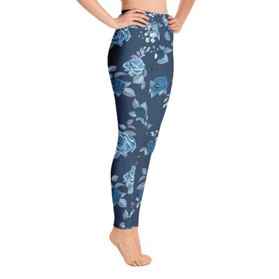 Blue Floral - High Waisted Printed Leggings