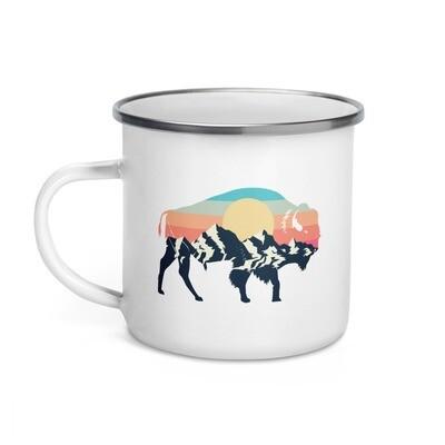 Landscape Bison - Enamel Mug