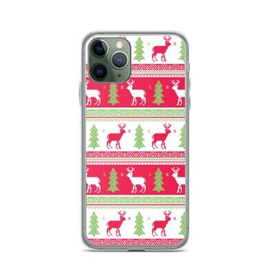 Reindeers & Pines Ugly Sweater - iPhone Case