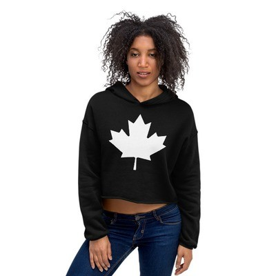 White Maple Leaf - Crop Hoodie