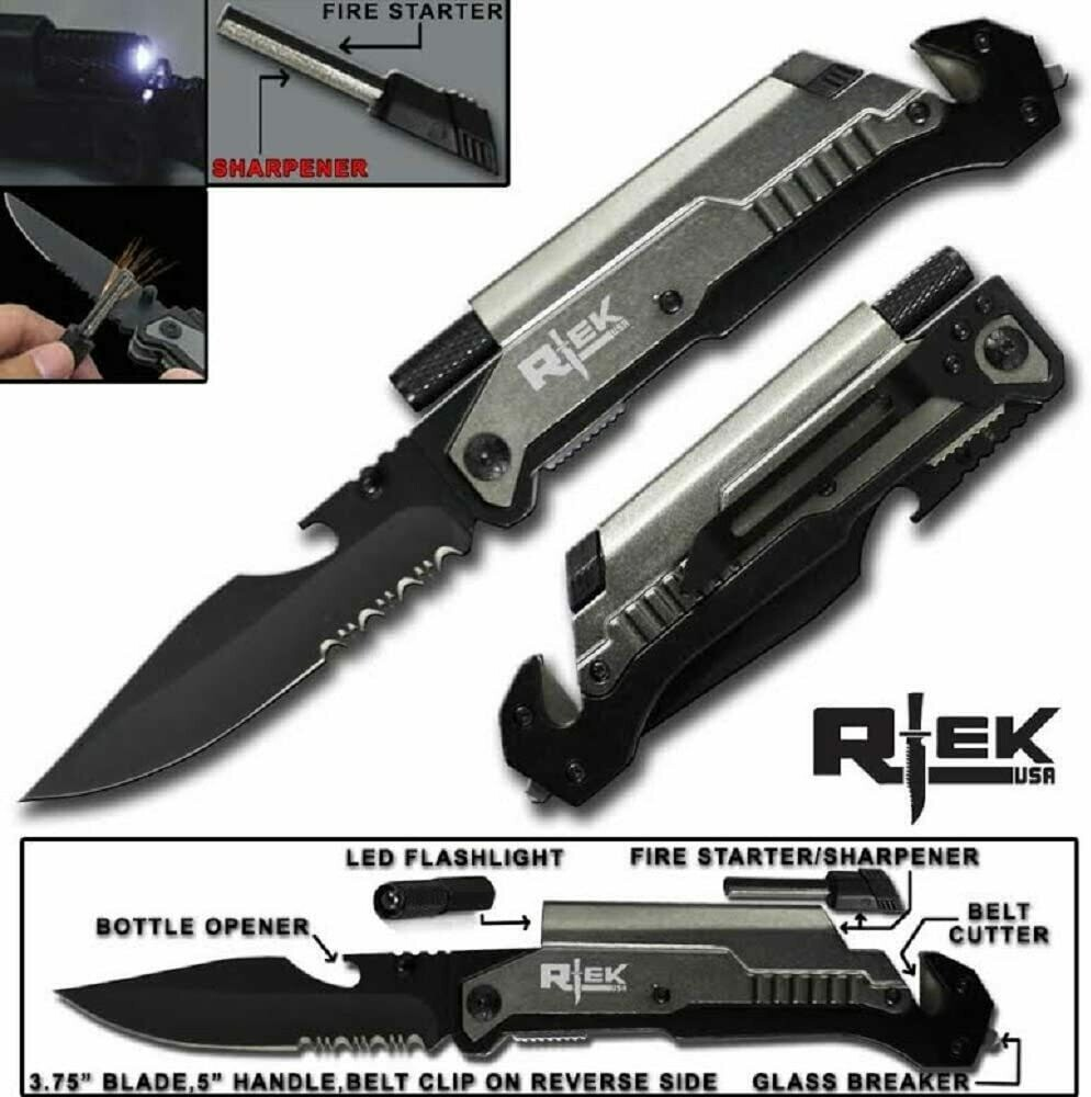 """#Apocalypse - 9 in 1 Tactical Spring Assisted 9"""" Rescue Pocket Knife"""