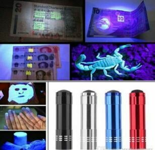 8x Portable UV Flashlight Ultraviolet Blacklight to Protect from germs/unknown substances Black, Silver, Blue, Red Option
