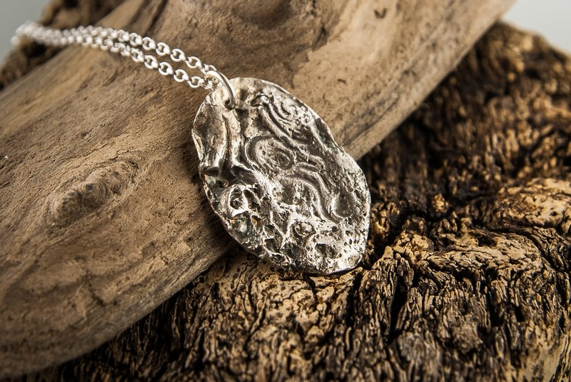 B) Pebble Print Pendant - Luxury Heavy Silver (999)  - various designs also available*    Made to order
