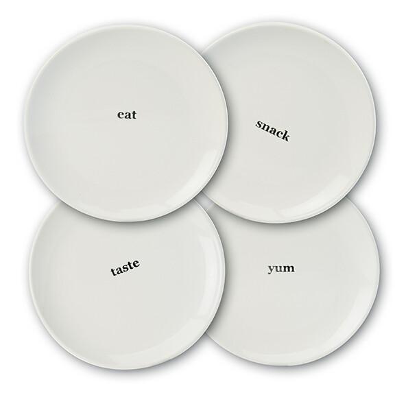 3-Piece Stoneware Plate Set - Eat, Taste, Yum