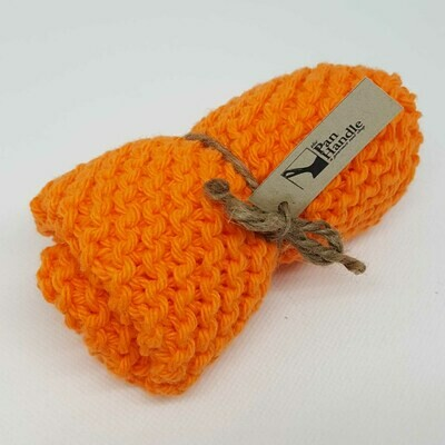 Hot Orange Hand Knit Dish Cloth