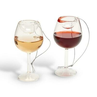 Two's Company Wine Glass Ornament - White or Red