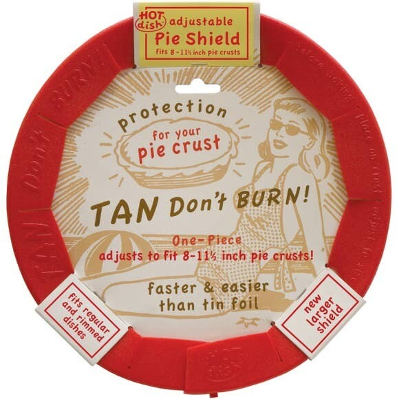 Tan Don't Burn™ Adjustable Red Silicone Pie Shield