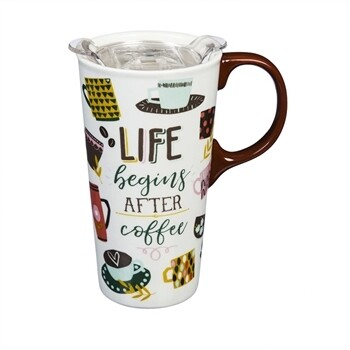 Ceramic Travel Cup 17 oz w/ Box & Lid - Life Begins After Coffee
