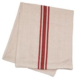 Cream & Red Stripe Grain Sack Towel