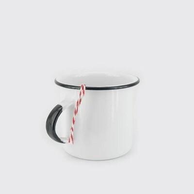 White Enameled Coffee Mug with Black Trim