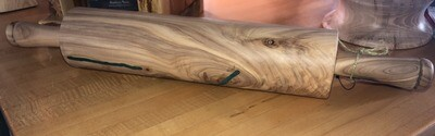 Large Mountain Cedar Rolling Pin with Turquoise Inlay