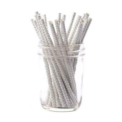 Sophistiplate Silver Chevron Cocktail Straws/25