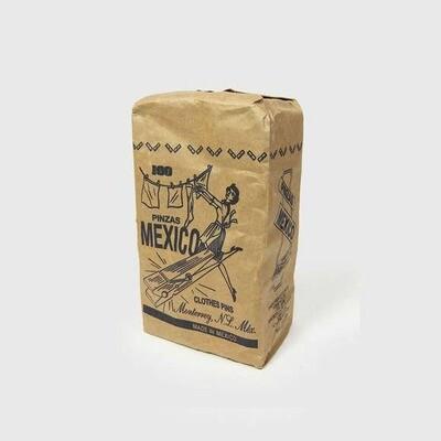 Kraft Printed Bag of Wood Clothes Pins - 100 ct.