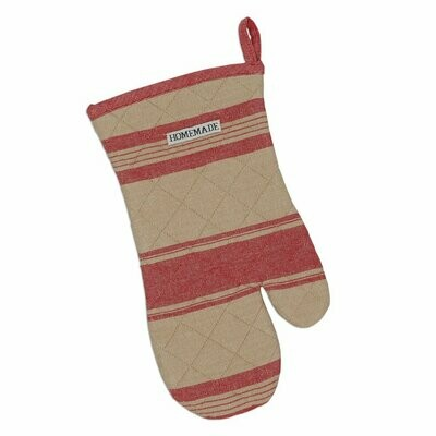 Red French Stripe Oven Mitt
