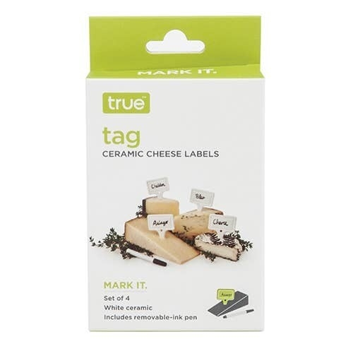 True™ Ceramic Cheese Labels with Ink Pen - Set of 4