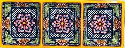Prepara 3-Section Decorative Yellow Tray