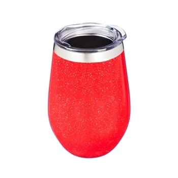 Double Wall Wine 12 oz. Tumbler & Lid - Red Glitter