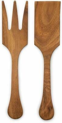 Large Acacia Wood Salad Utensil Set - 8
