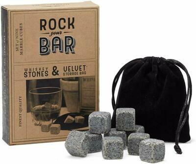 Marble Whiskey Stones Set of 9 in Velvet Gift Bag