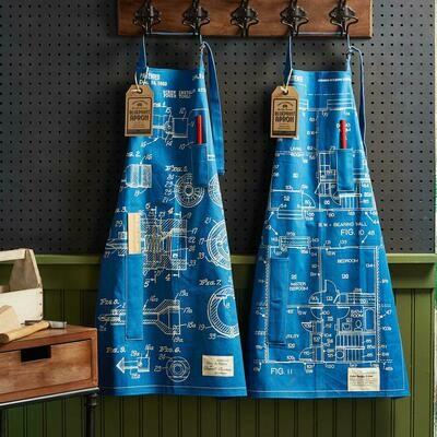 Blueprint Apron with Ruler & Pencil