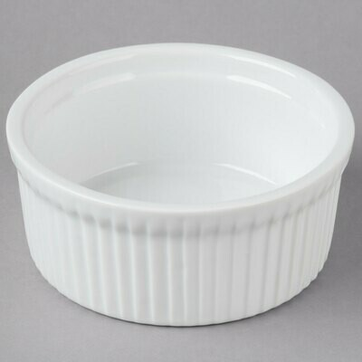 10 oz. Round Bright White Fluted Soufflé Dish