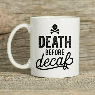 Type League Press® Death ☠️ Before Decaf Mug 15 oz.
