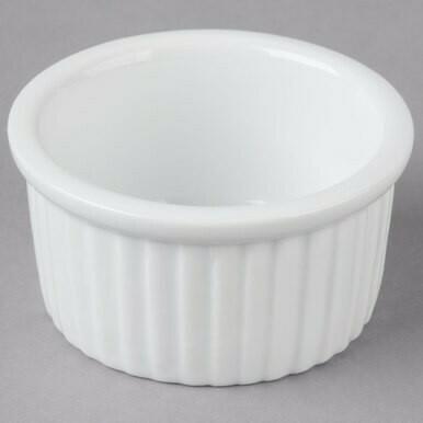 2.5 oz. Bright White Fluted China Ramekin