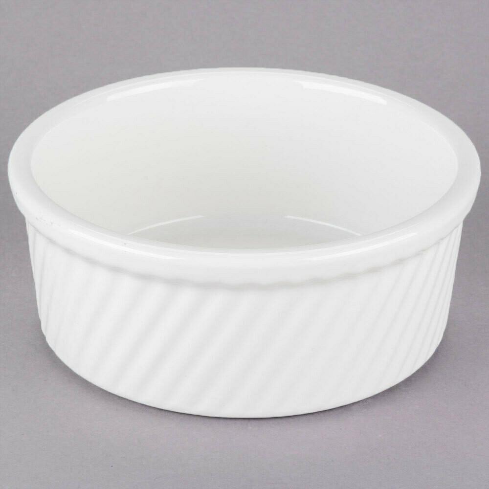 21 oz. White China Souffle / Ramekin with Swirl Sides